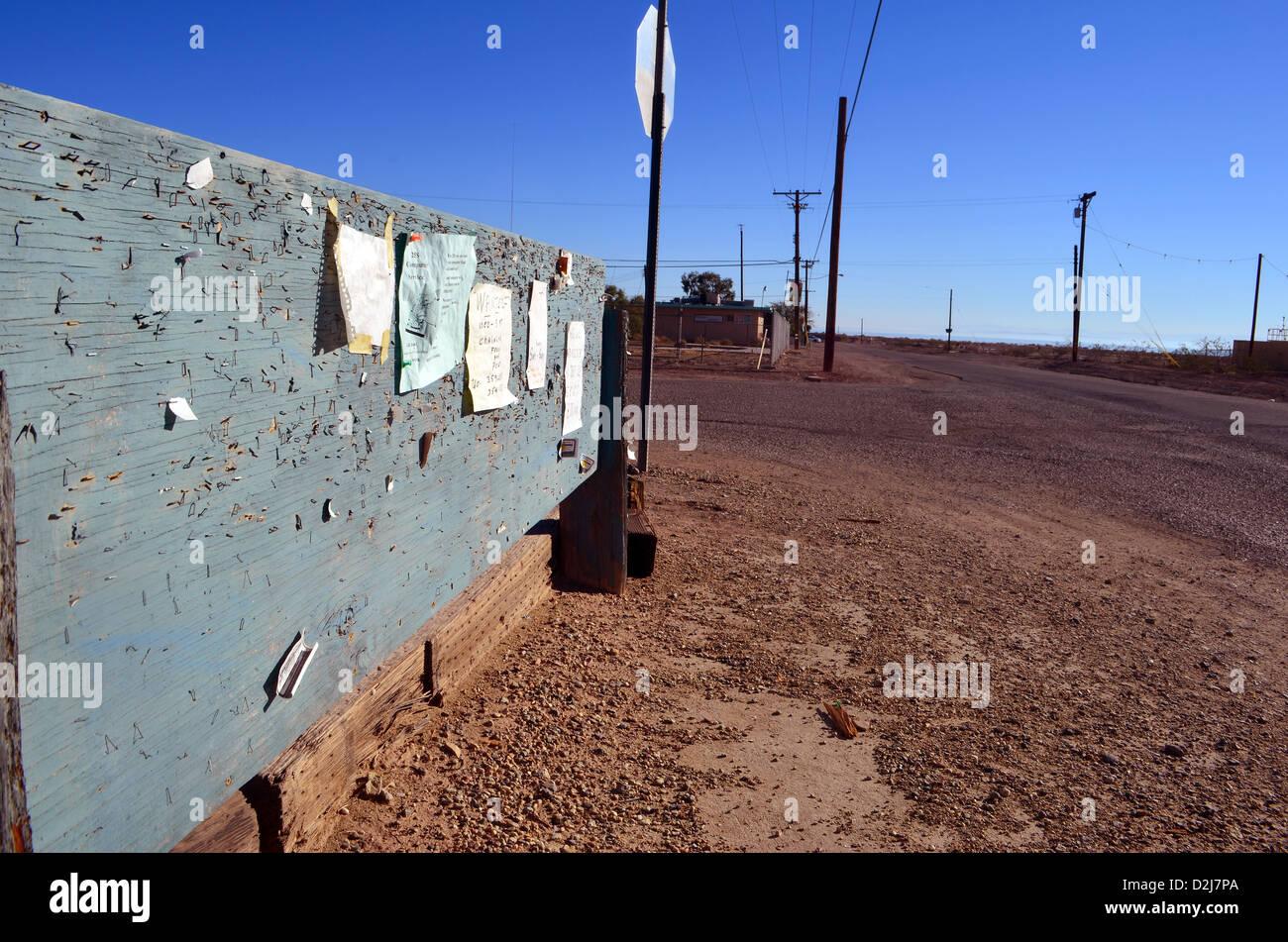 Roadside noticeboard in the desert at the Salton Sea, California. - Stock Image