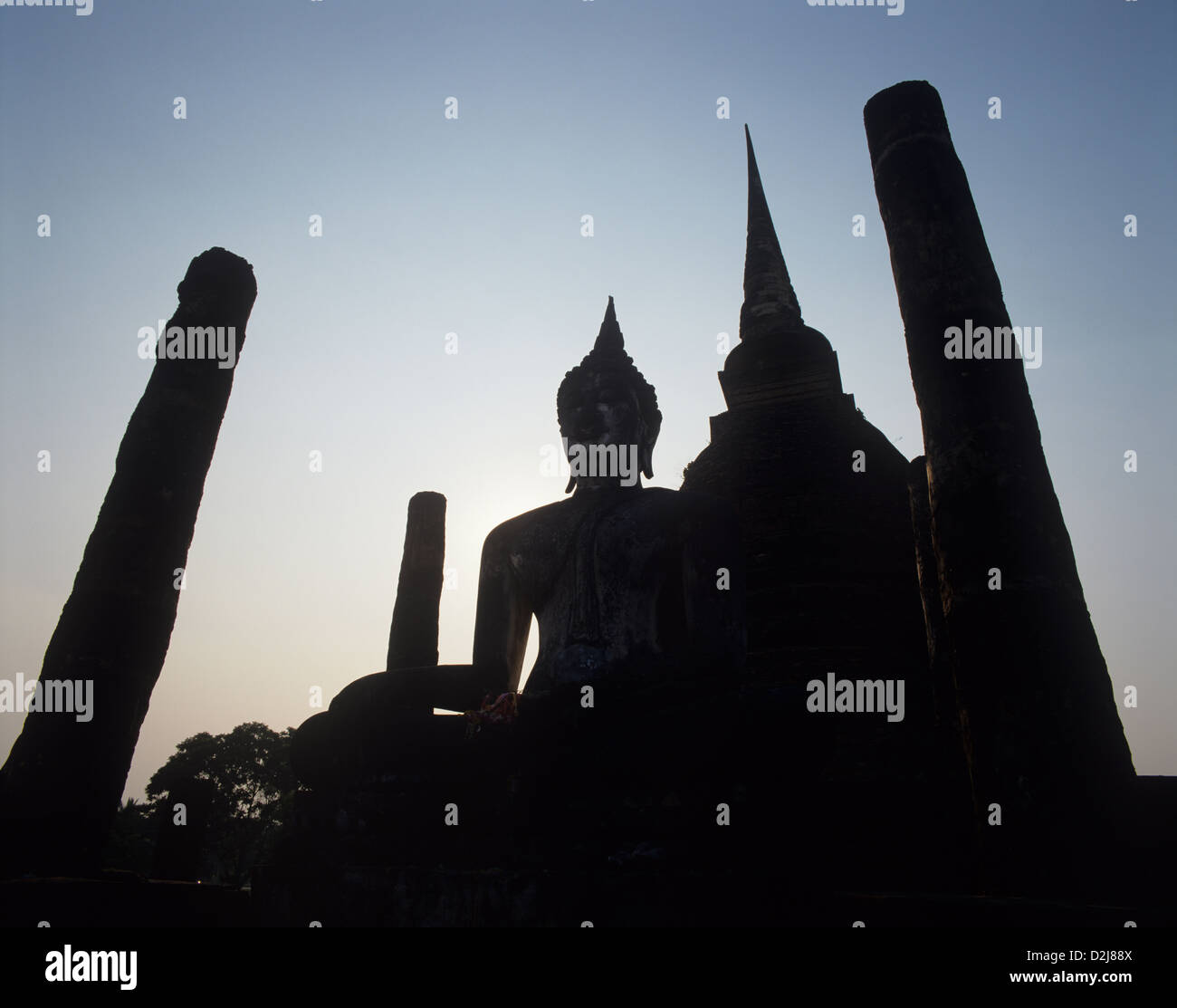 Thailand, Sukhothai Province, Sukhothai Historical Park, Wat Sa Si, Sacred Pond Monastery - Stock Image