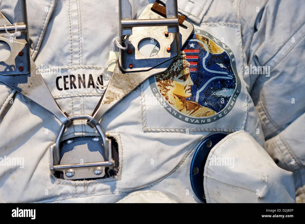 Gene Cernan Apollo 17 suit, Kennedy Space Center - Stock Image