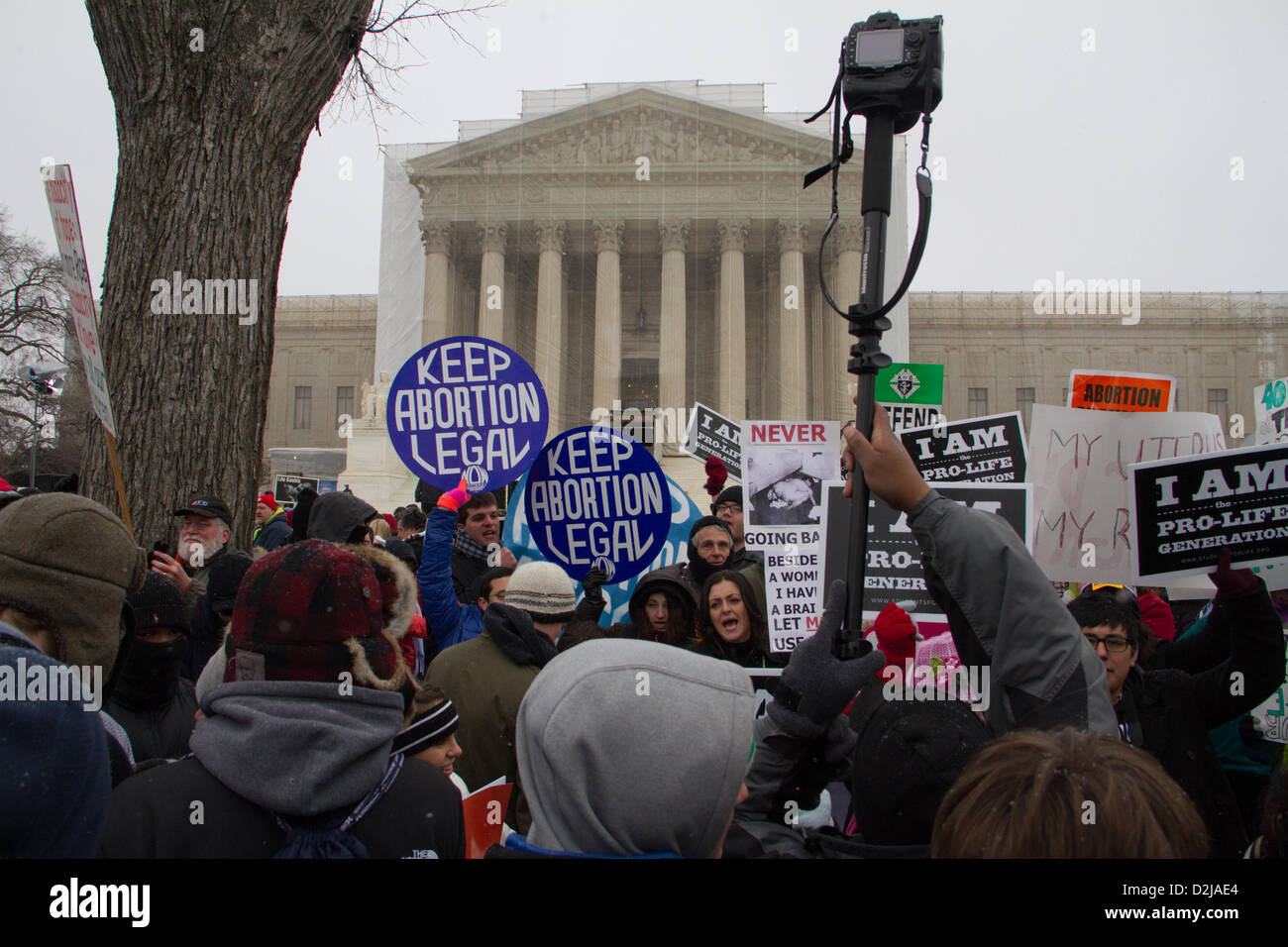 Washington DC, USA. 25th January 2013. Protesters converged on the Supreme Court to protest abortion in the 'March - Stock Image