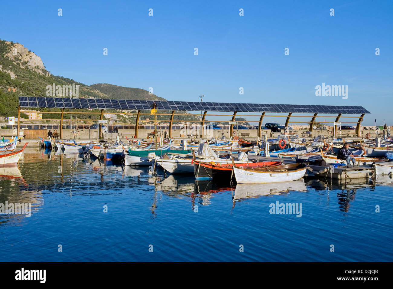 Finale Ligure, Italy, solar plant in the Port of Finale Ligure - Stock Image