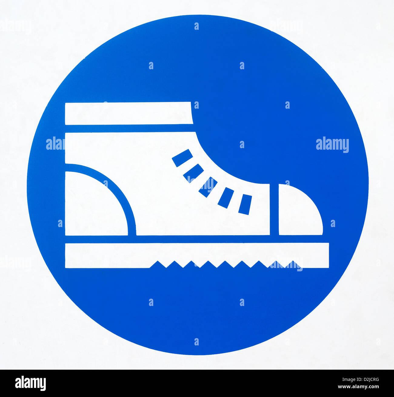 Genoa, Italy, mandatory signs, safety shoes - Stock Image