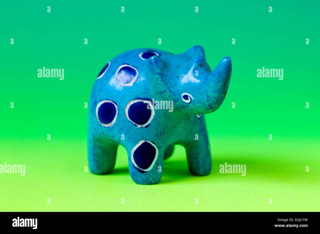 carved miniature soapstone rhinoceros Stock Photo