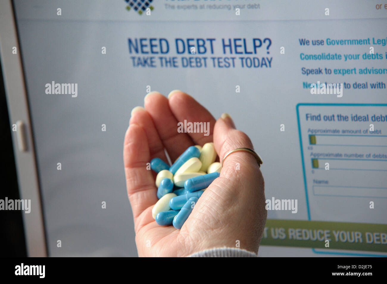 debt help suicide overdose concept image - Stock Image
