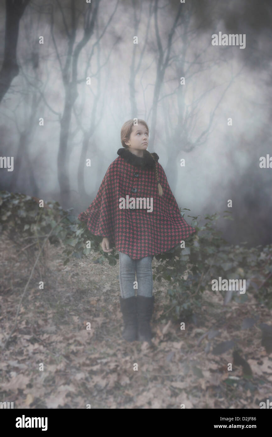 a girl with a red cape in the dark woods - Stock Image