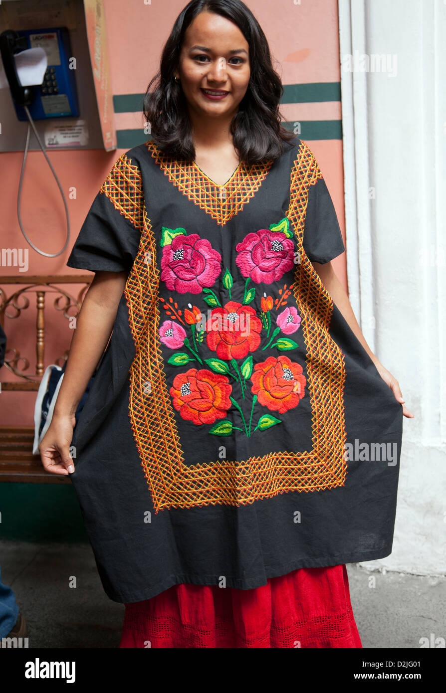 Woman wears traditional Oaxacan Tunic (Puebla - Mexico) - Stock Image