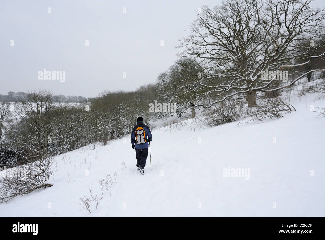 Walking the Ridgeway in Winter Snow - Stock Image
