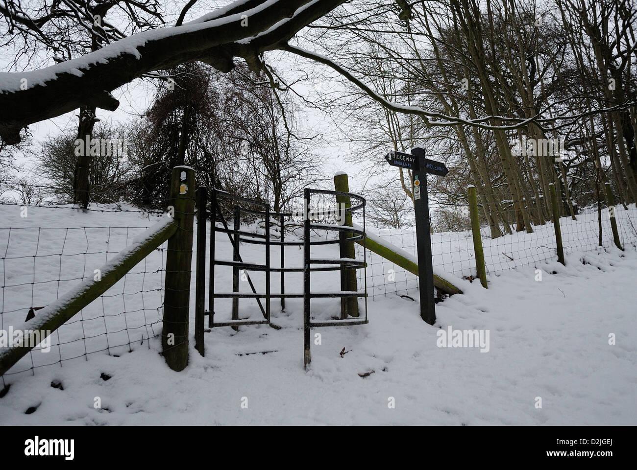 Gateway on the Ridgeway in Winter Snow Stock Photo