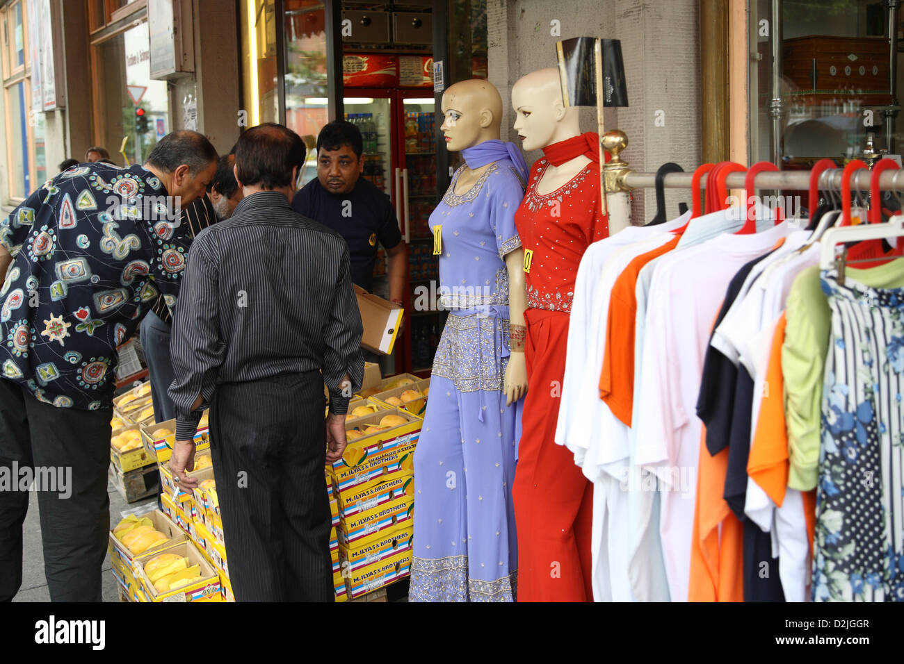Hamburg, Germany, mannequins and clothes of an Indian