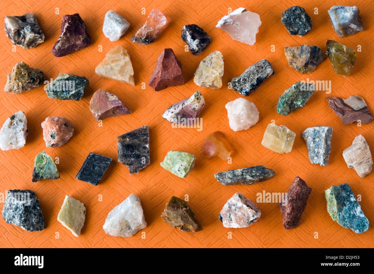 uncut mineral stones - Stock Image
