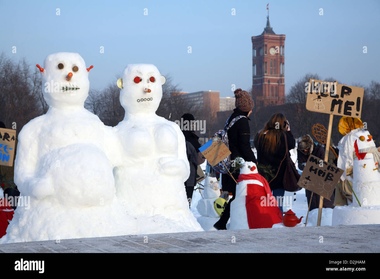 Berlin, Germany, Snowman demonstration against climate change by the initiator Entegra - Stock Image