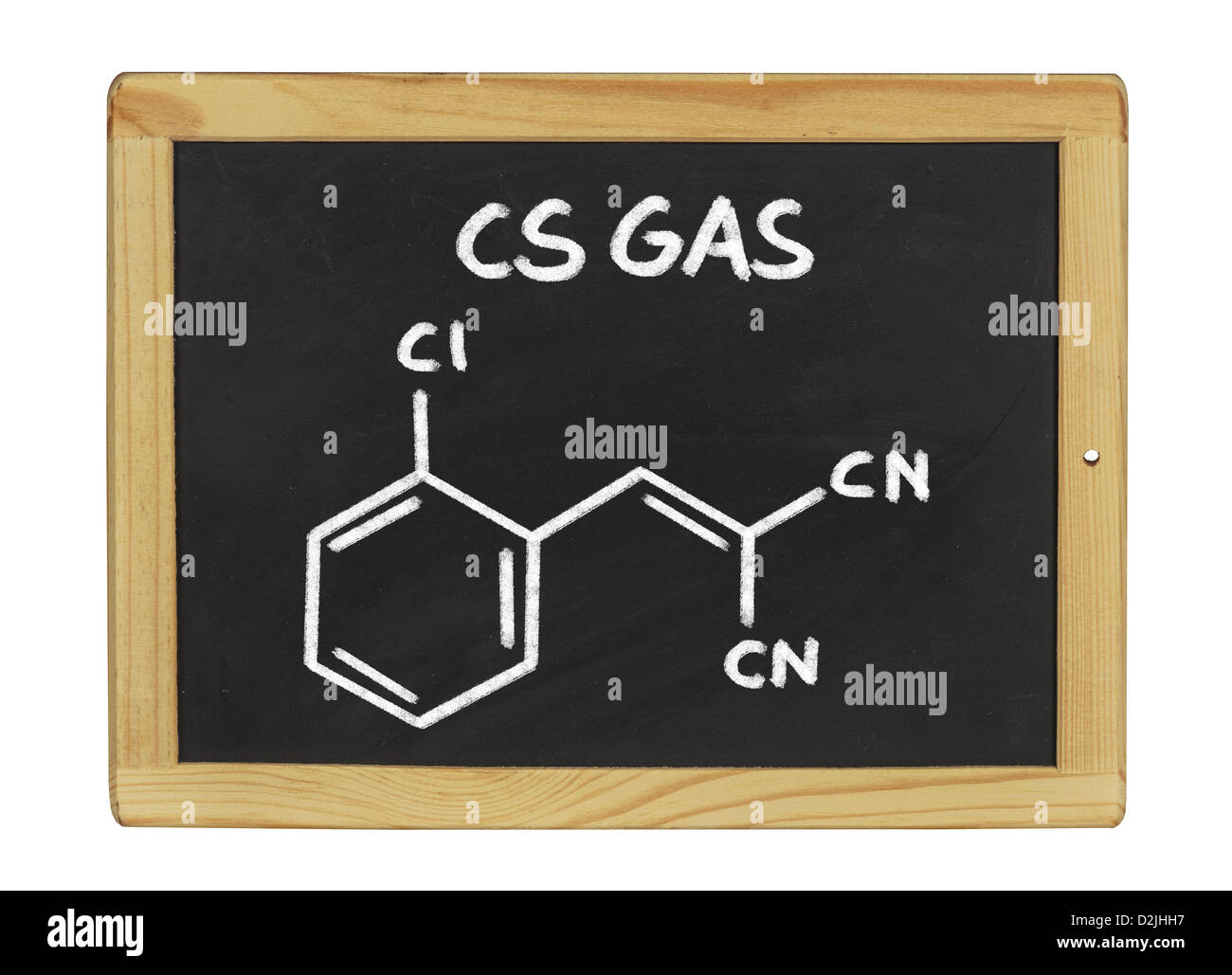 chemical formula of cs gas on a blackboard - Stock Image