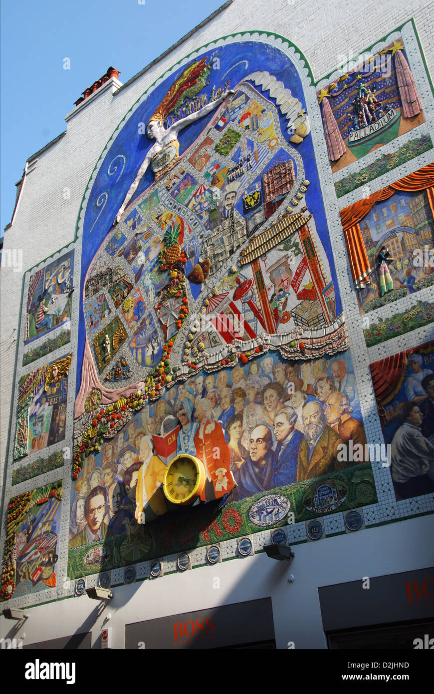 The Spirit of Soho, mural in Broadwick Street, close to Carnaby Sreet London - Stock Image