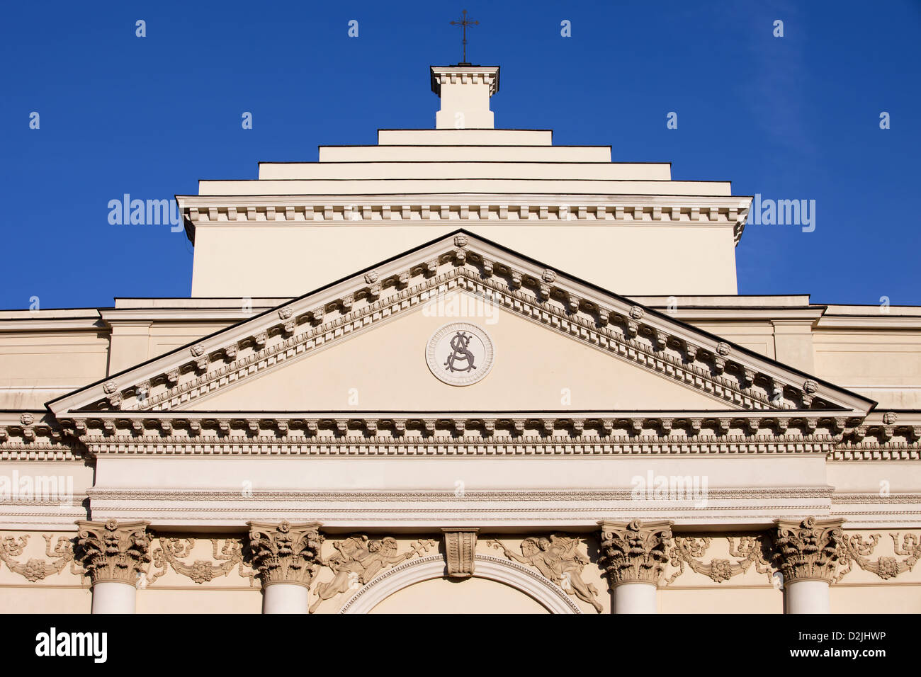 Neoclassical St. Anne's Church architectural details, built in 18th century in Warsaw, Poland. - Stock Image