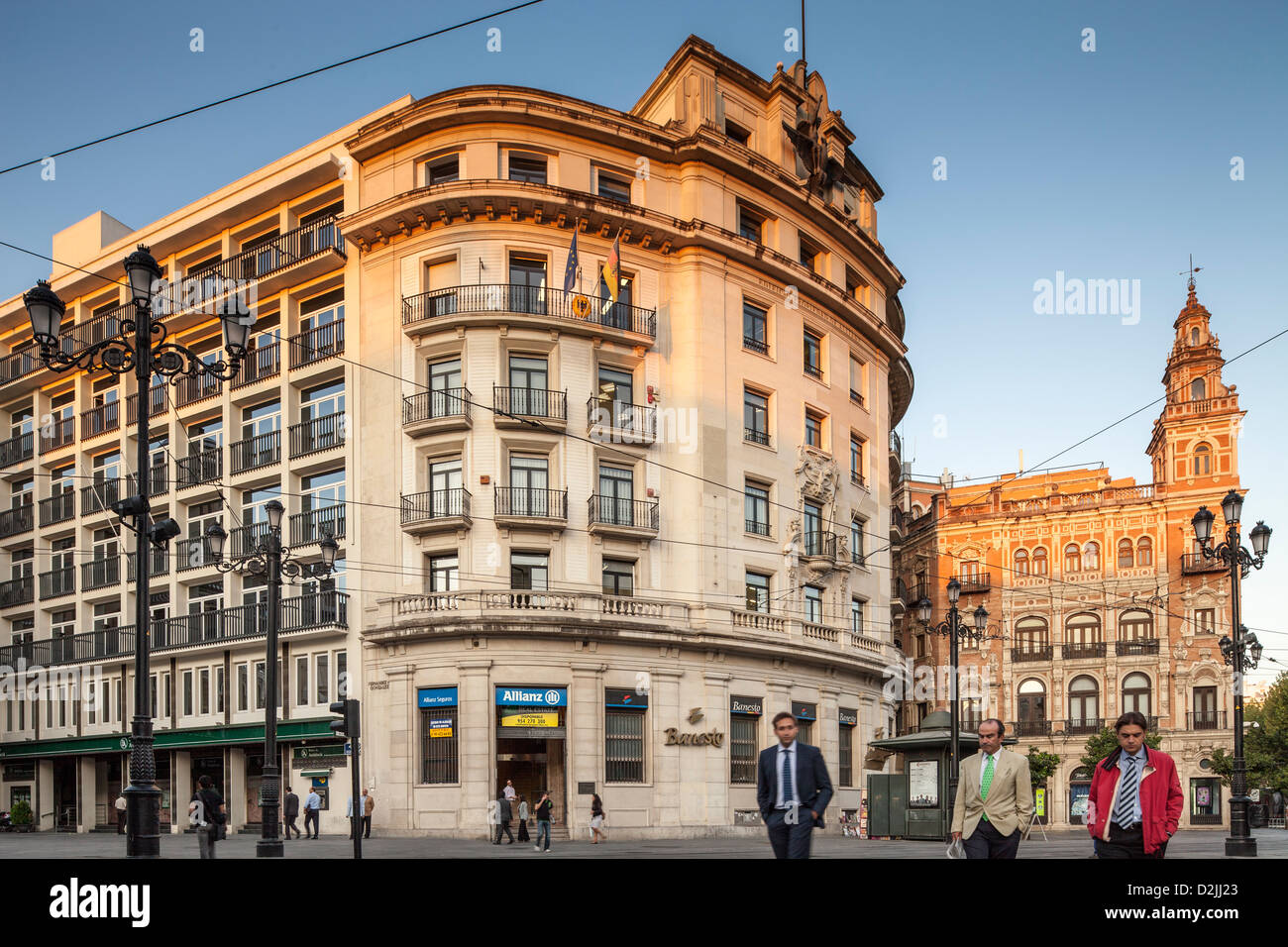Seville, Spain, passersby on the Plaza Nueva - Stock Image