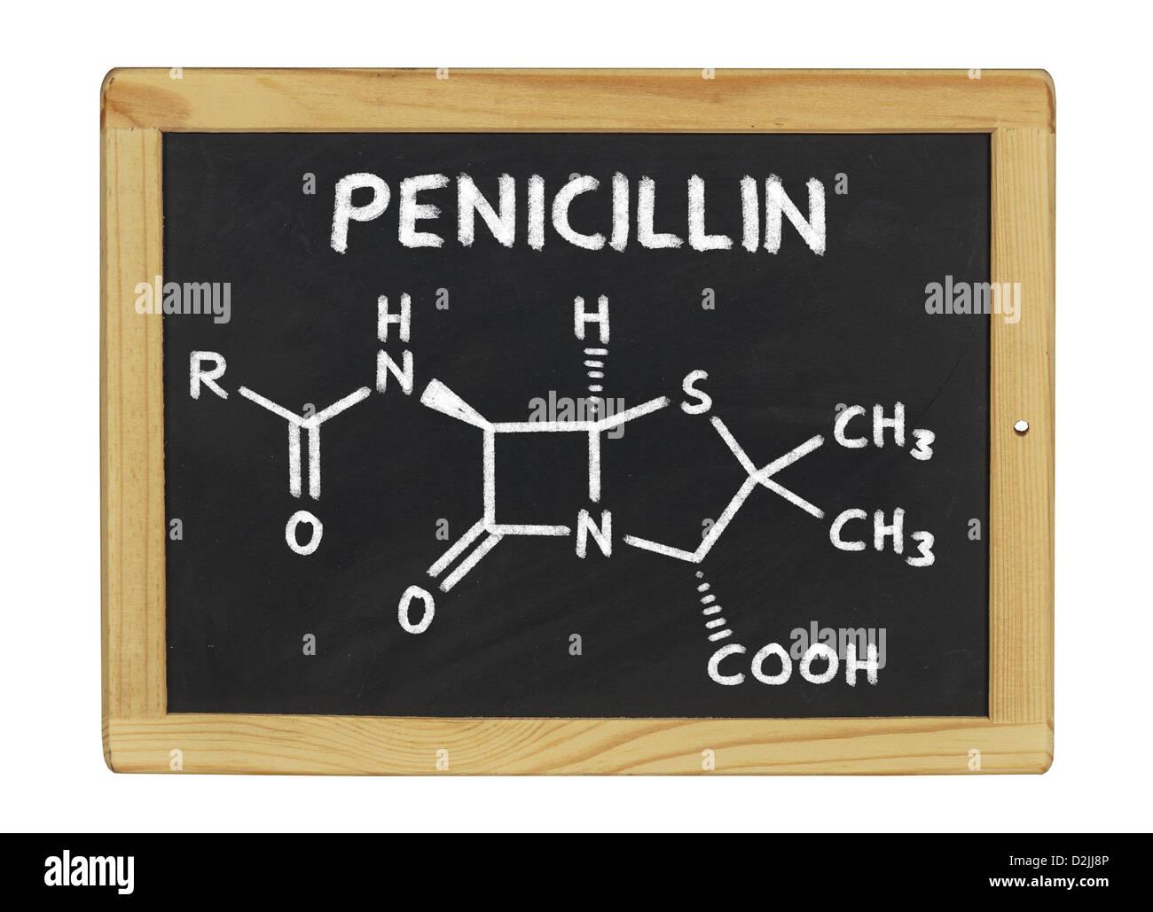 chemical formula of penicillin on a blackboard - Stock Image