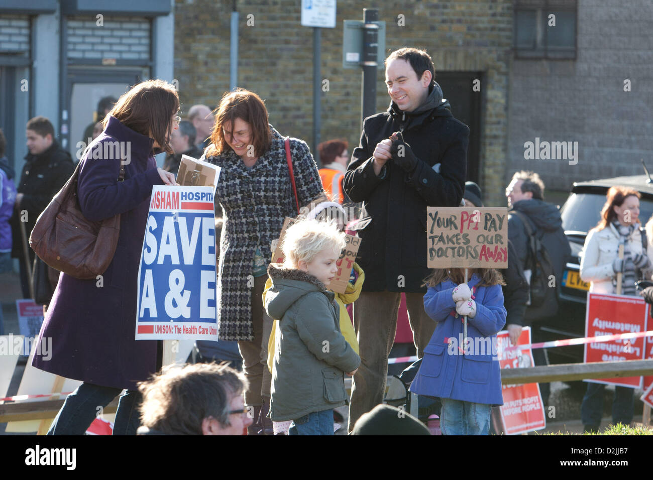 London UK. 26th January 2013. . Thousands of local people prepare to mobilise for a march and rally in opposition - Stock Image