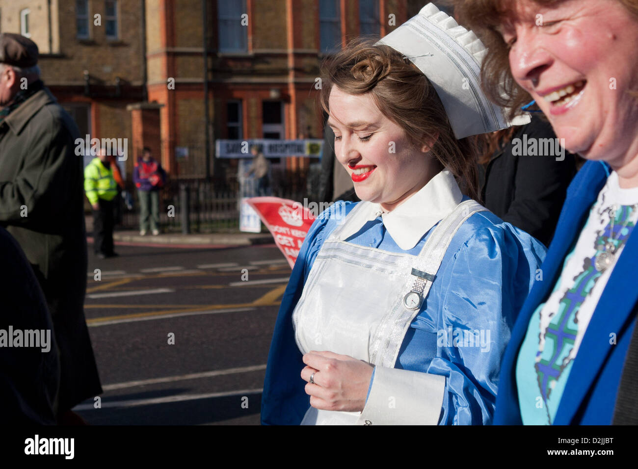 London UK. 26th January 2013. . Thousands of local people marching to a rally in opposition to hospital closures - Stock Image