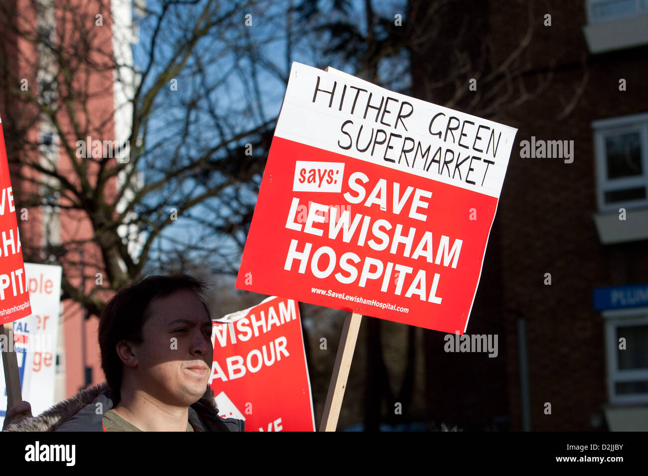 London UK. 26th January 2013. . Thousands of local people marching to a rally in opposition to hospital closures. - Stock Image