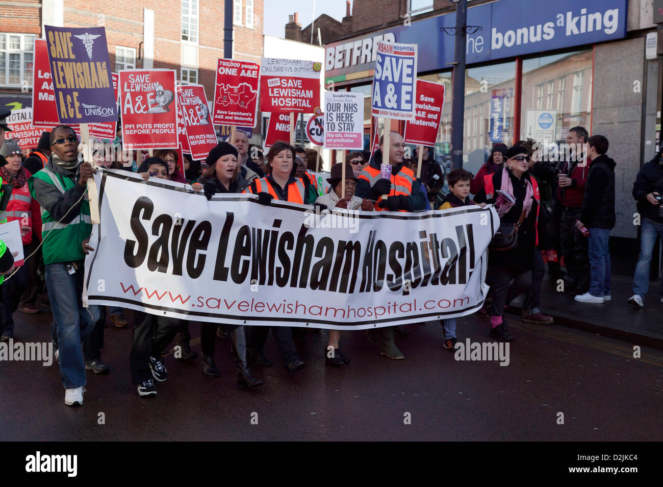 London, UK. 26th January 2013. Demonstrators on a march against Lewisham NHS cuts to the Maternity and A&E departments - Stock Image