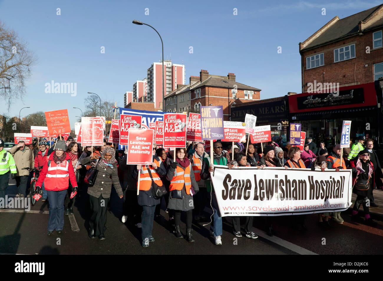 Thousands of Demonstrators  marched  against Lewisham NHS cuts to the Maternity and A&E departments - Stock Image