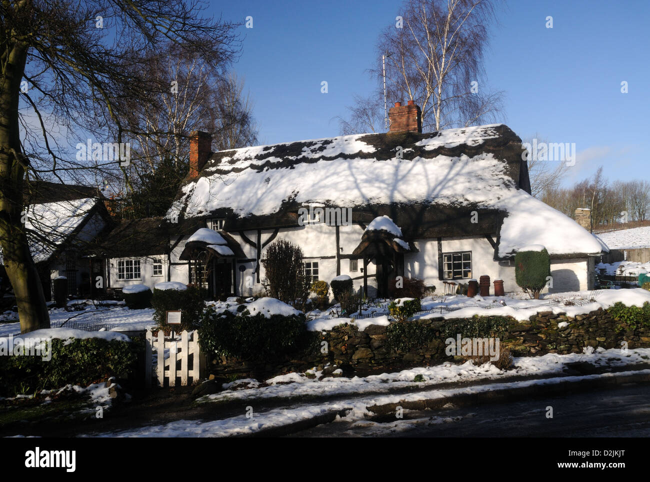 Winter at Pest Cottage, in Woodhouse, Leicestershire, England Stock Photo