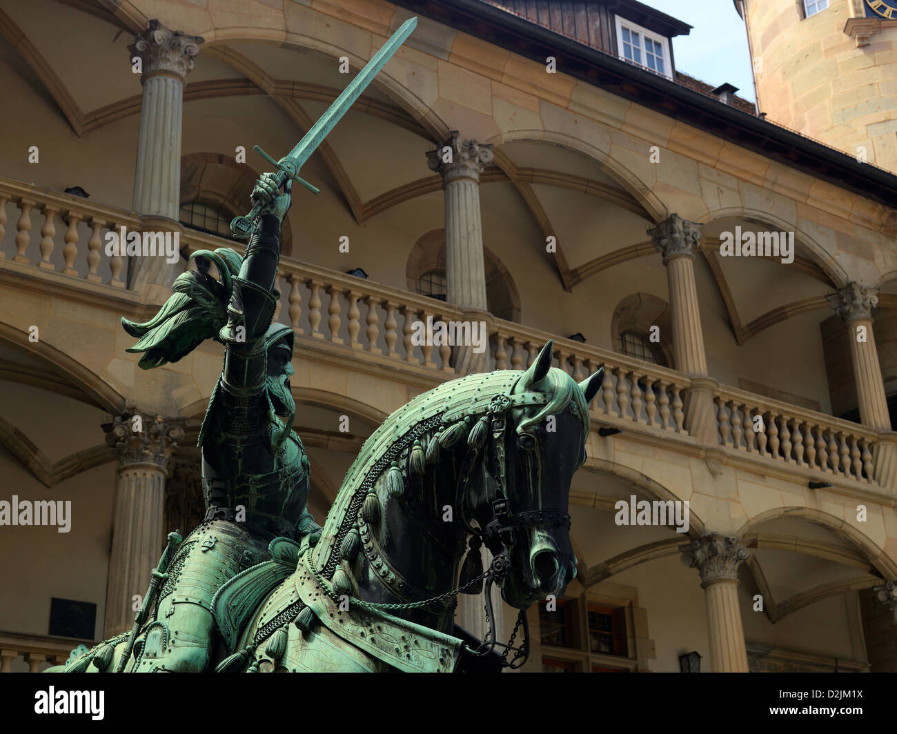 Equestrian statue of Count Eberhard in the inner courtyard of the Old Palace in Stuttgart, Germany - Stock Image