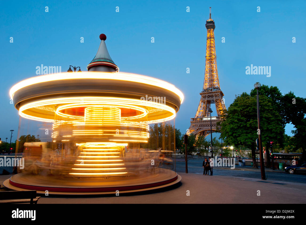 The Eiffel Tower at night Paris France - Stock Image
