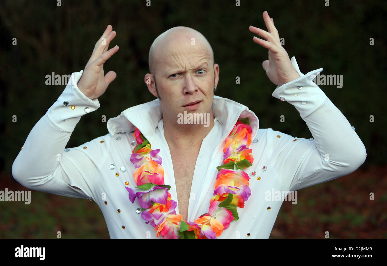 Bald Elvis impersonator Geraint Benney who has received hate mail from Elvis fans over his act. - Stock Image