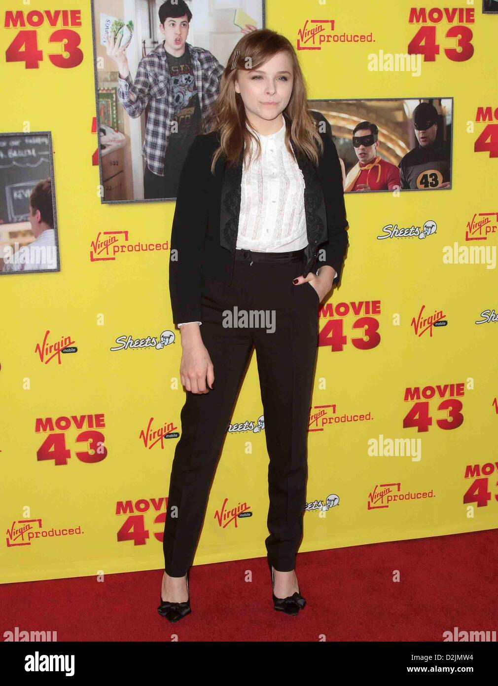 CHLOE GRACE MORETZ PREMIERE OF MOVIE 43 LOS ANGELES CALIFORNIA USA 23 January 2013 - Stock Image