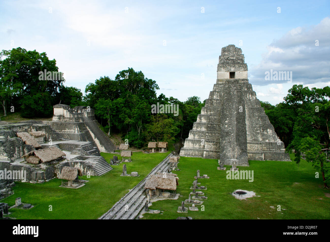 Tikal Temple 1 or Temple of the Great Jaguar, is located in Tikal, a major pre-Columbian Maya civilization archaeological - Stock Image