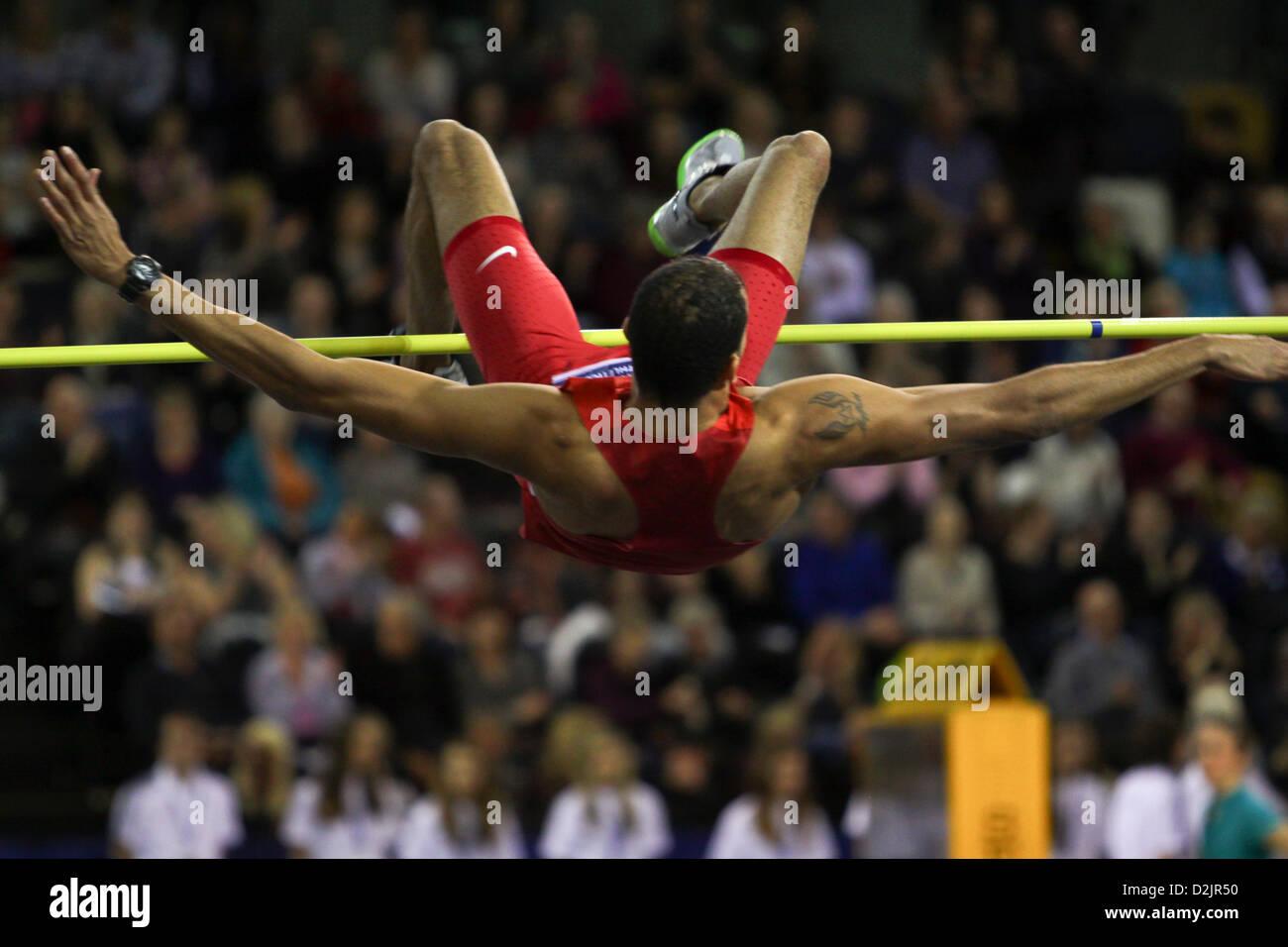 Glasgow, UK. 26th January 2013. Keith Moffat USA Men's high jump third place 26.01.2013 British Athletics Glasgow - Stock Image