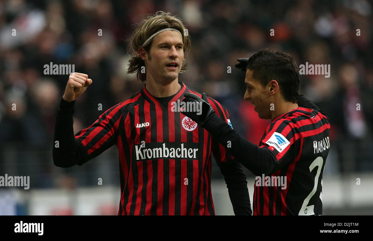 1-0 Martin LANIG (13, Eintracht Frankfurt) , torjubel  1. Bundesliga: Eintracht Frankfurt - 1899 Hoffenheim, 19. - Stock Image