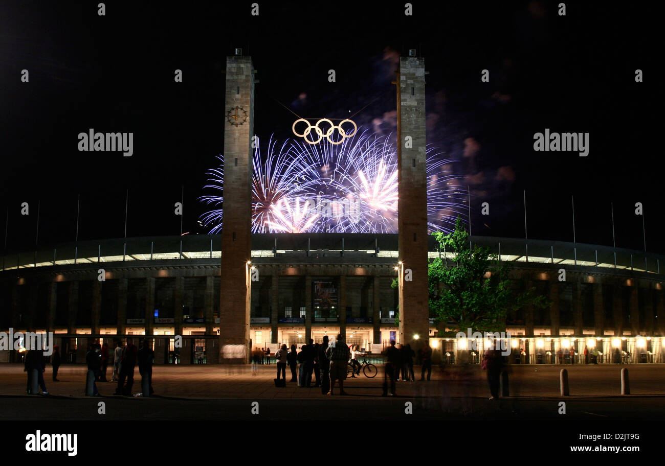 Fireworks during the Pyronale 2009 over the Olympic Stadium, Berlin, Germany Stock Photo