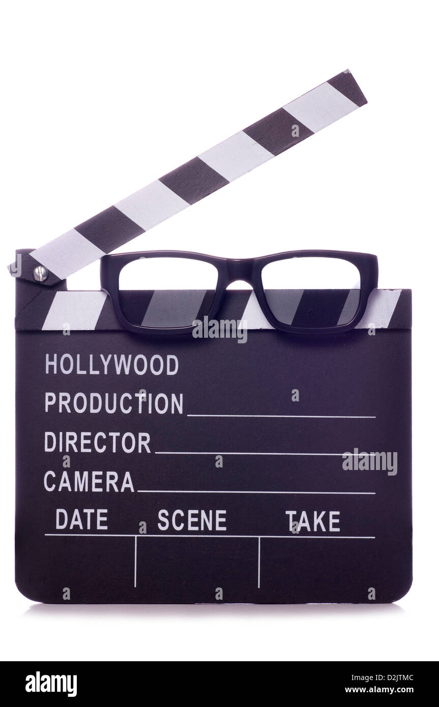 Film clapper with 3d glasses studio cutout - Stock Image