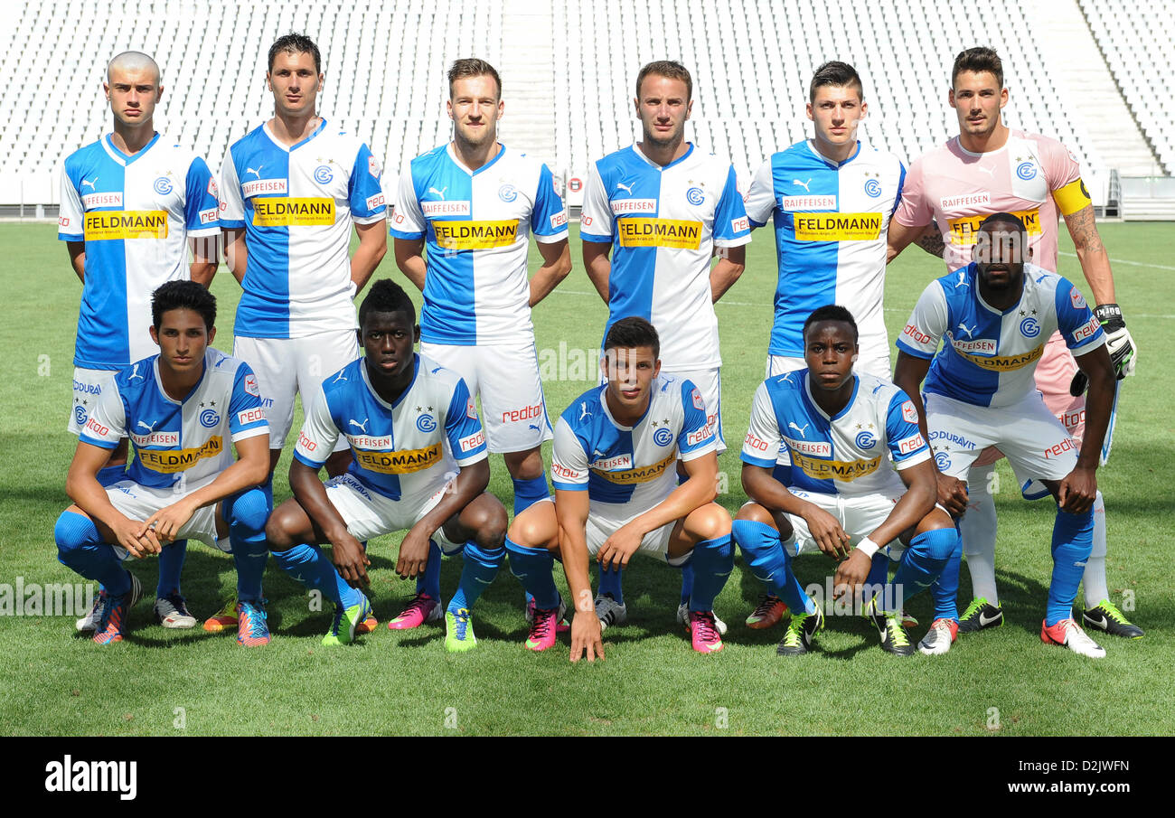 CAPE TOWN, South Africa - Saturday 26 January 2013, Team Grasshopper Club Zurich during the soccer/football match - Stock Image