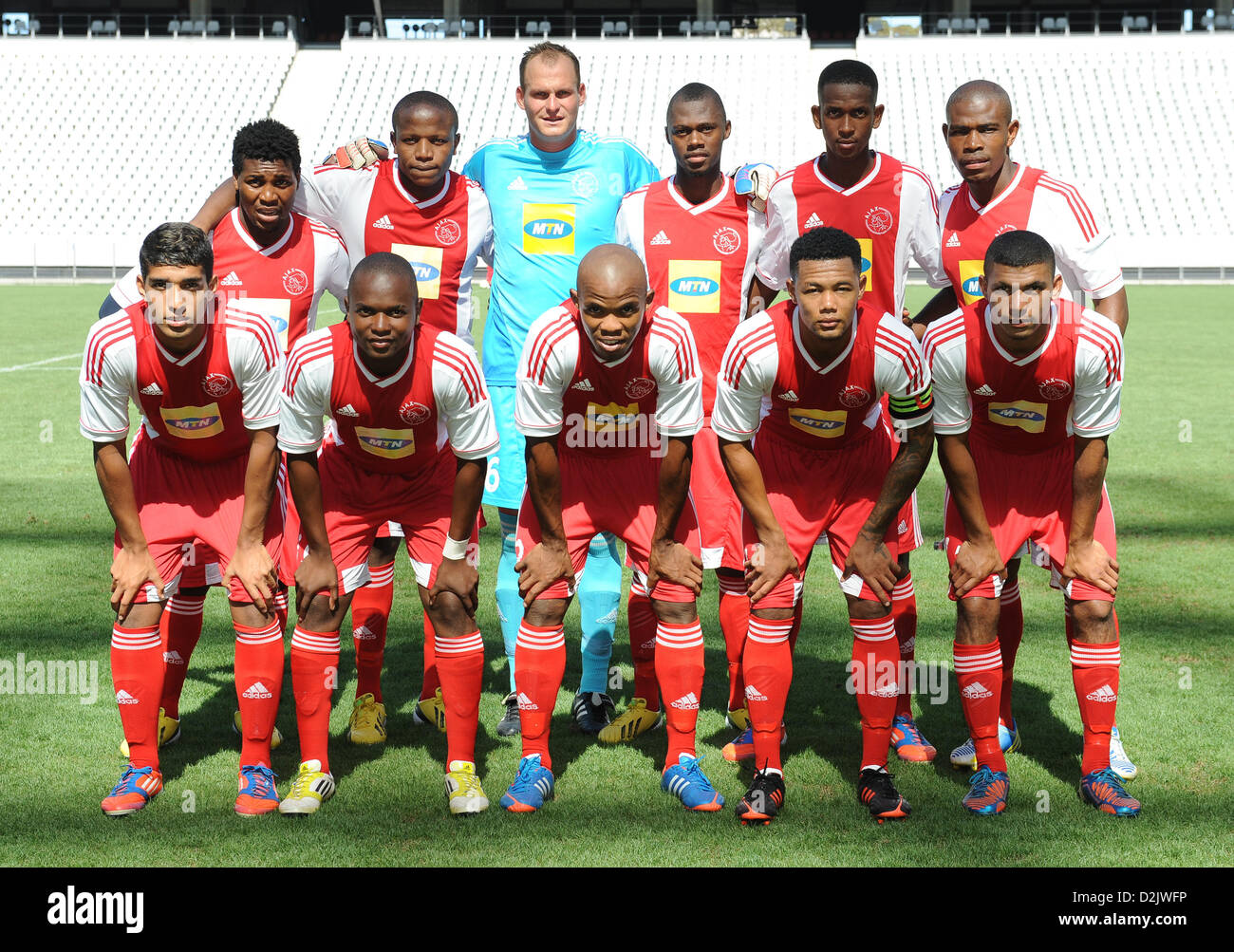 CAPE TOWN, South Africa - Saturday 26 January 2013, Team Ajax Cape Town during the soccer/football match Grasshopper - Stock Image