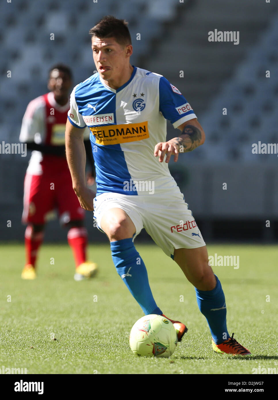 CAPE TOWN, South Africa - Saturday 26 January 2013, Steven Zuber of Grasshopper Club Zurich during the soccer/football - Stock Image
