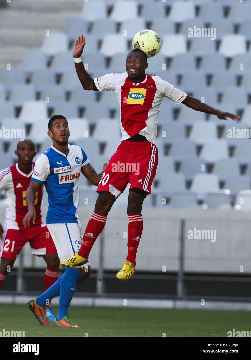 CAPE TOWN, South Africa - Saturday 26 January 2013, Thato Mokeke of Ajax Cape Town heads the ball during the soccer/football - Stock Image