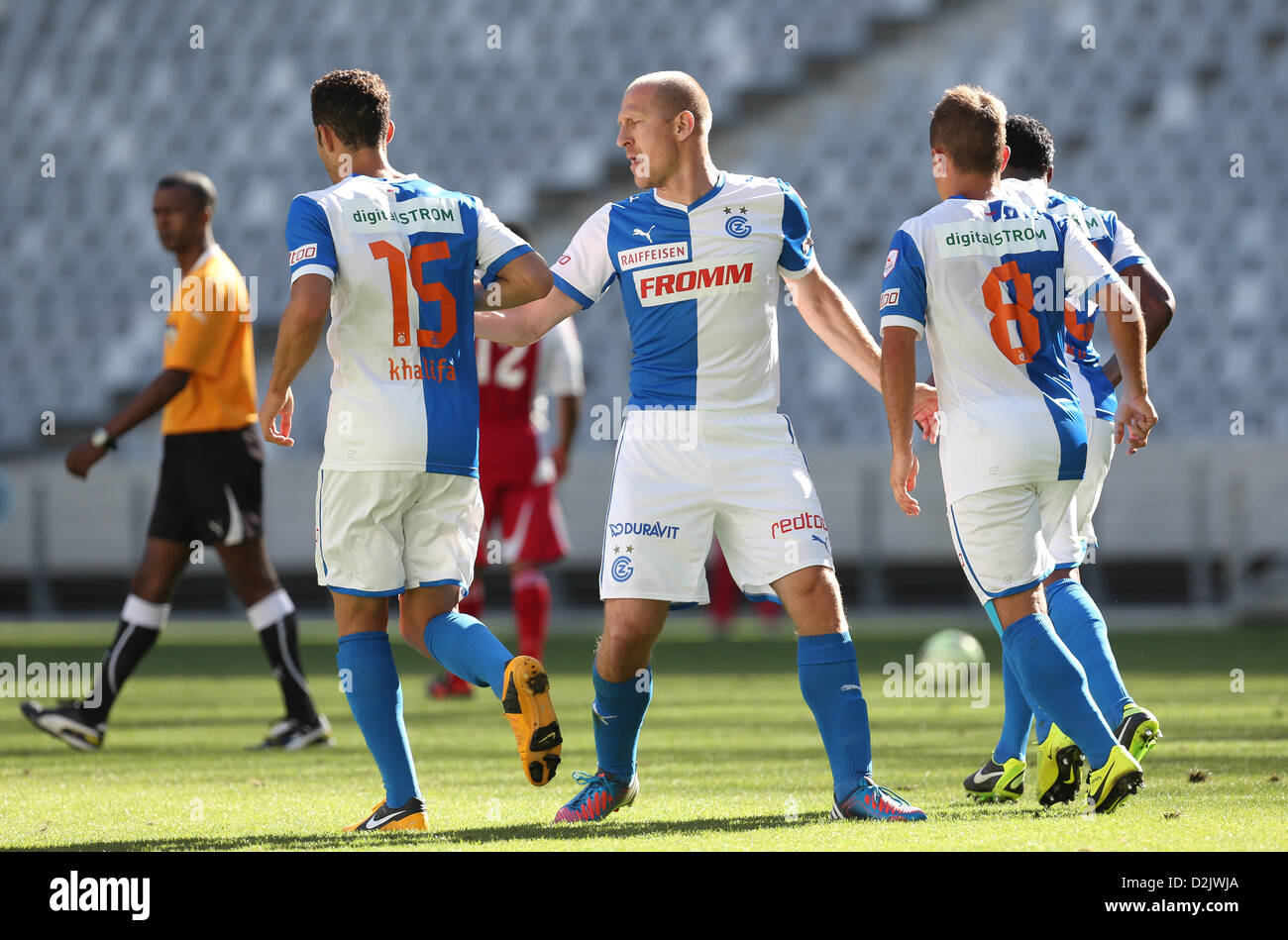 CAPE TOWN, South Africa - Saturday 26 January 2013, Stephane Grichting of Grasshopper Club Zurich congratulates - Stock Image