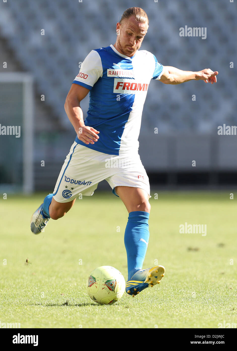 CAPE TOWN, South Africa - Saturday 26 January 2013, Michael Lang of Grasshopper Club Zurich during the soccer/football - Stock Image