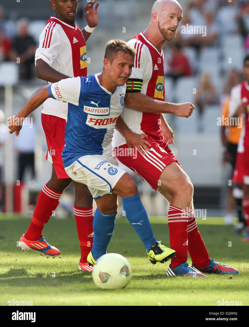 CAPE TOWN, South Africa - Saturday 26 January 2013, Amir Abrashi of Grasshopper Club Zurich and Matthew Booth of - Stock Image