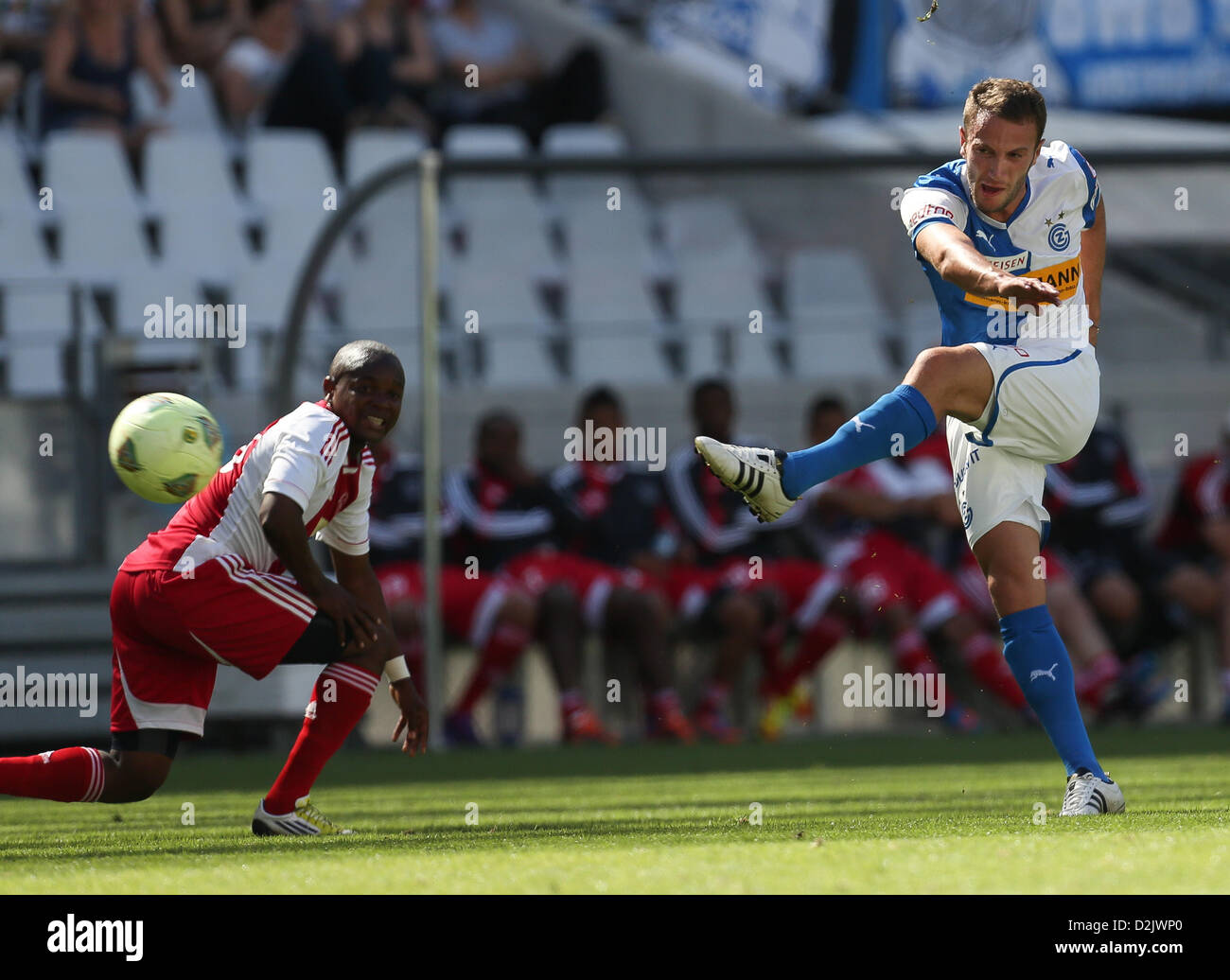CAPE TOWN, South Africa - Saturday 26 January 2013, Shkelzen Gashi of Grasshopper Club Zurich takes a shot at goal - Stock Image