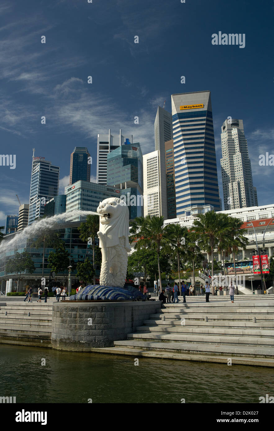 Singapore, Republic of Singapore, the Merlionfigur front of the skyline of the financial district Stock Photo