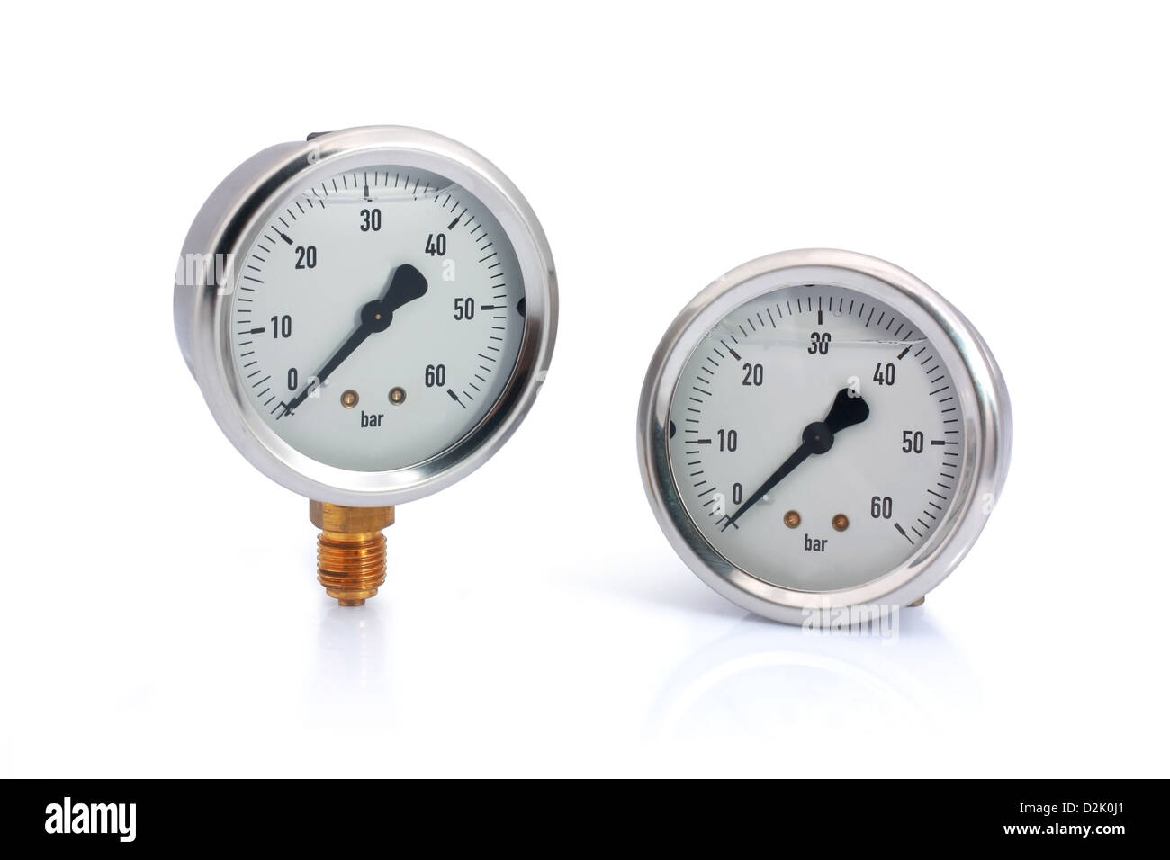 Two different type manometer isolated on white background. Bottom and behind connection type. - Stock Image