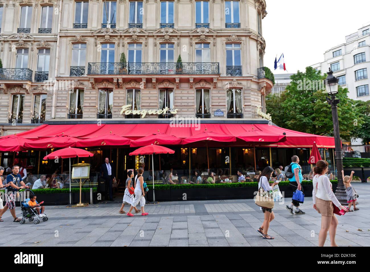 Fouguest's Restaurant, Champs Elysees, Paris, France. - Stock Image