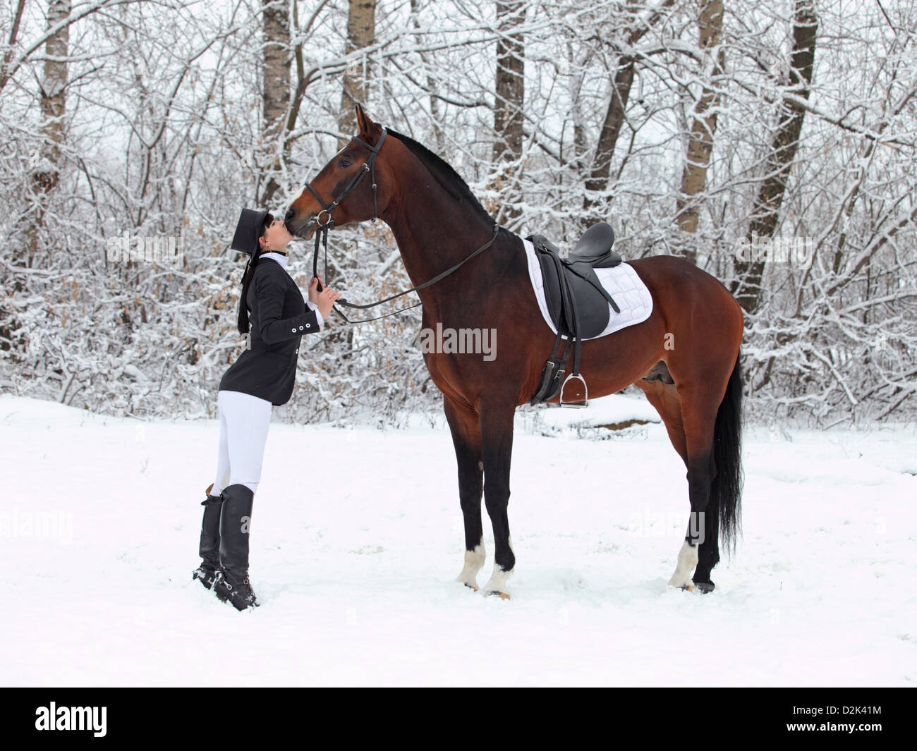 Young rider praising her horse Stock Photo
