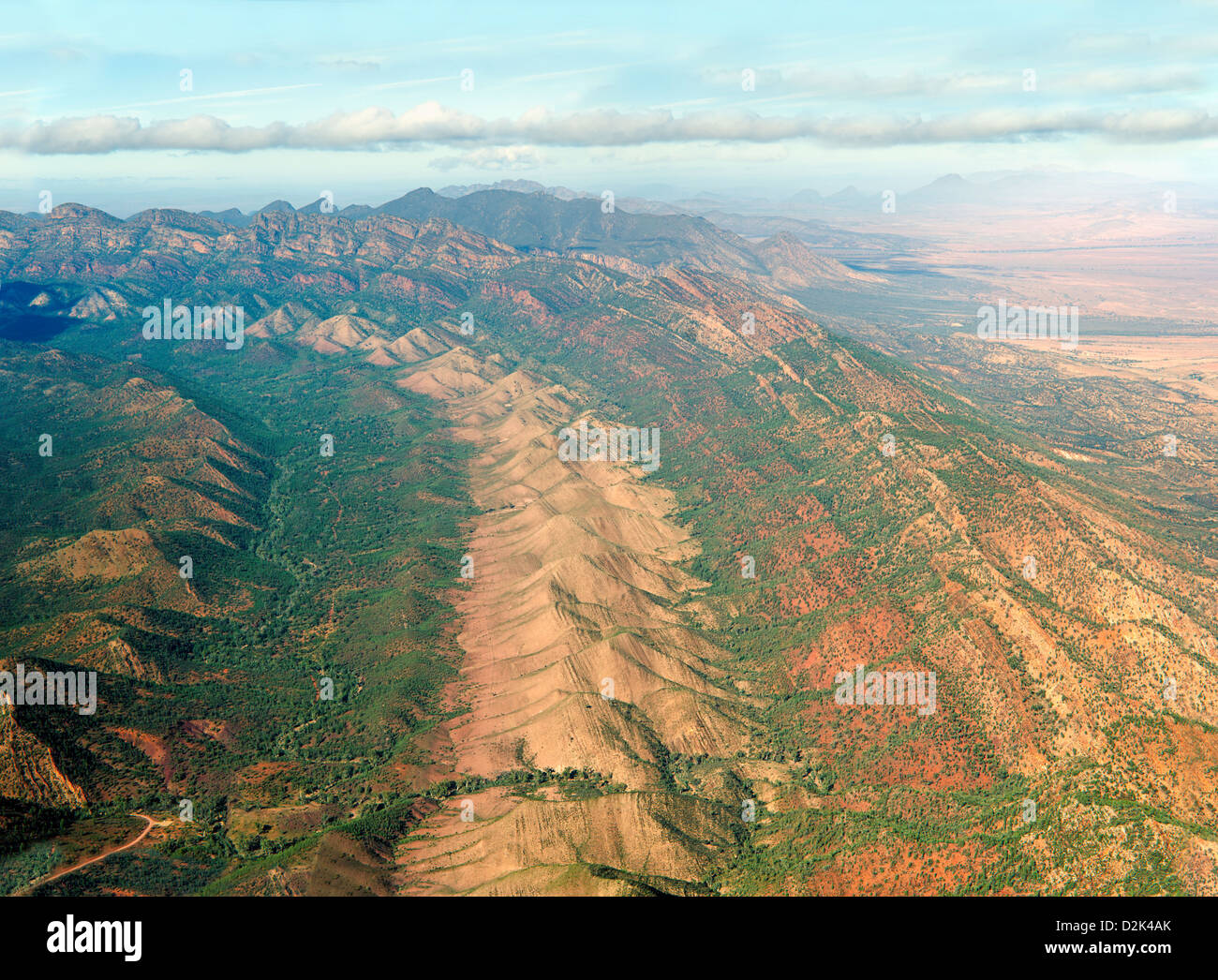 Aerial view of the ABC Range in South Australia's rugged Flinders Ranges - Stock Image