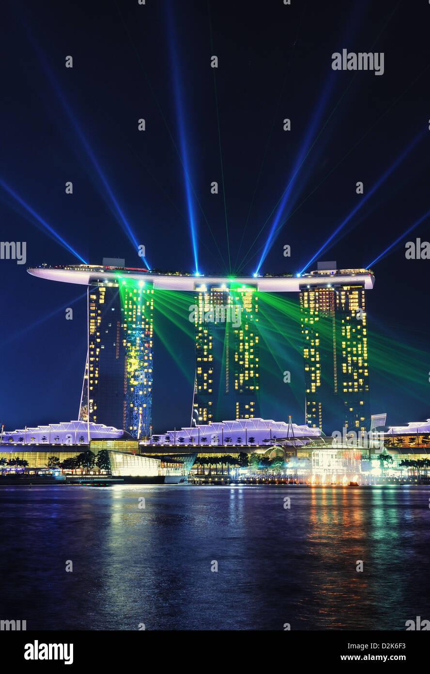 wonder full light show at marina bay sands hotel in singapore stock