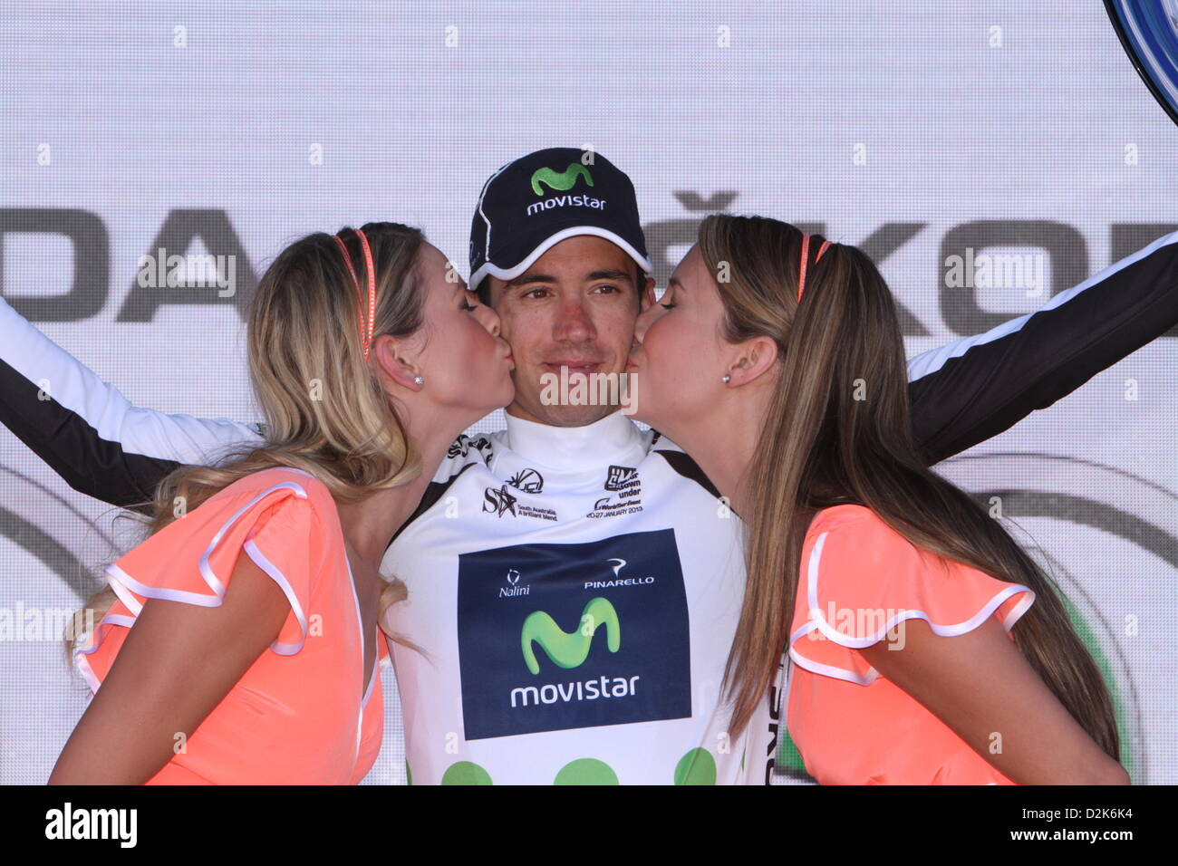 Javier Moreno Bazan of Movistar team won the Skoda King of the Mountain  jersey after Stage 6 of the Santos Tour Down Under 2013 Adelaide City  Circuit 847849702